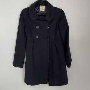 Tulle Black Double Breasted Pea Coat Size XS